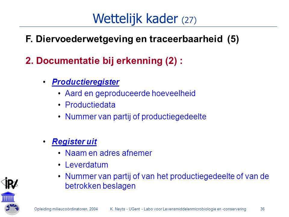 Opleiding milieucoördinatoren, 2004K. Neyts - UGent - Labo voor Levensmiddelenmicrobiologie en -conservering36 Wettelijk kader (27) F. Diervoederwetge