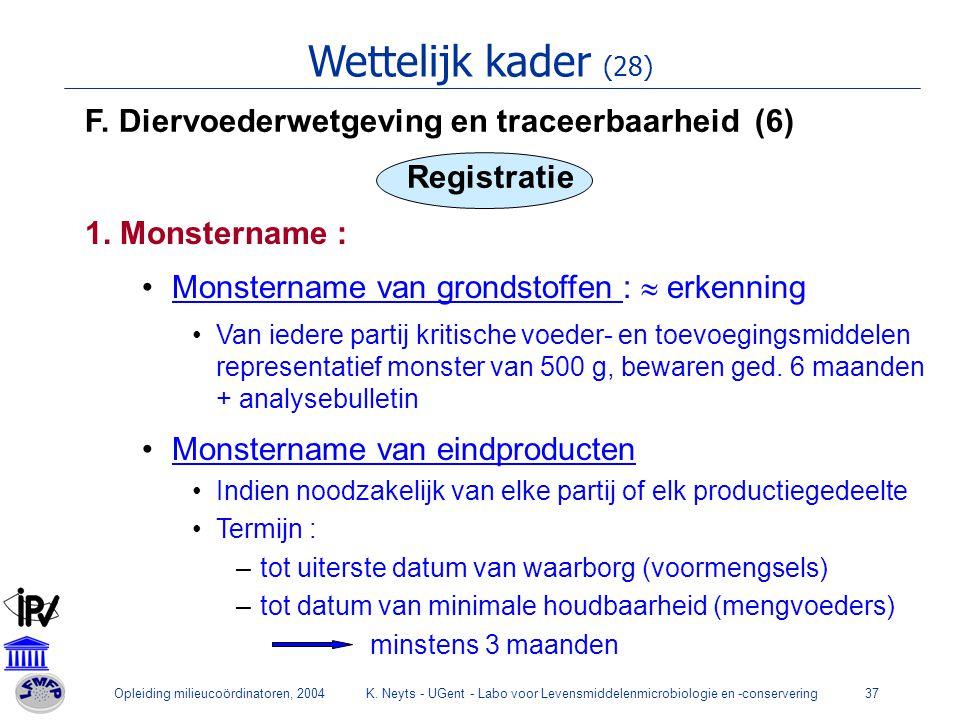 Opleiding milieucoördinatoren, 2004K. Neyts - UGent - Labo voor Levensmiddelenmicrobiologie en -conservering37 Wettelijk kader (28) F. Diervoederwetge
