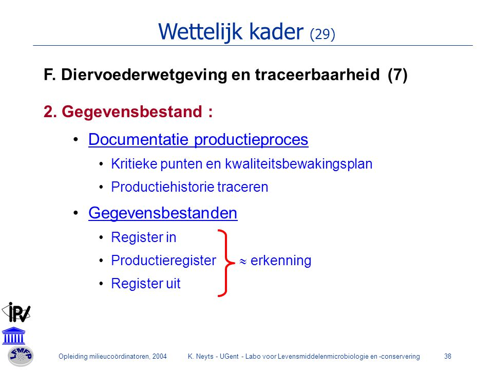 Opleiding milieucoördinatoren, 2004K. Neyts - UGent - Labo voor Levensmiddelenmicrobiologie en -conservering38 Wettelijk kader (29) F. Diervoederwetge