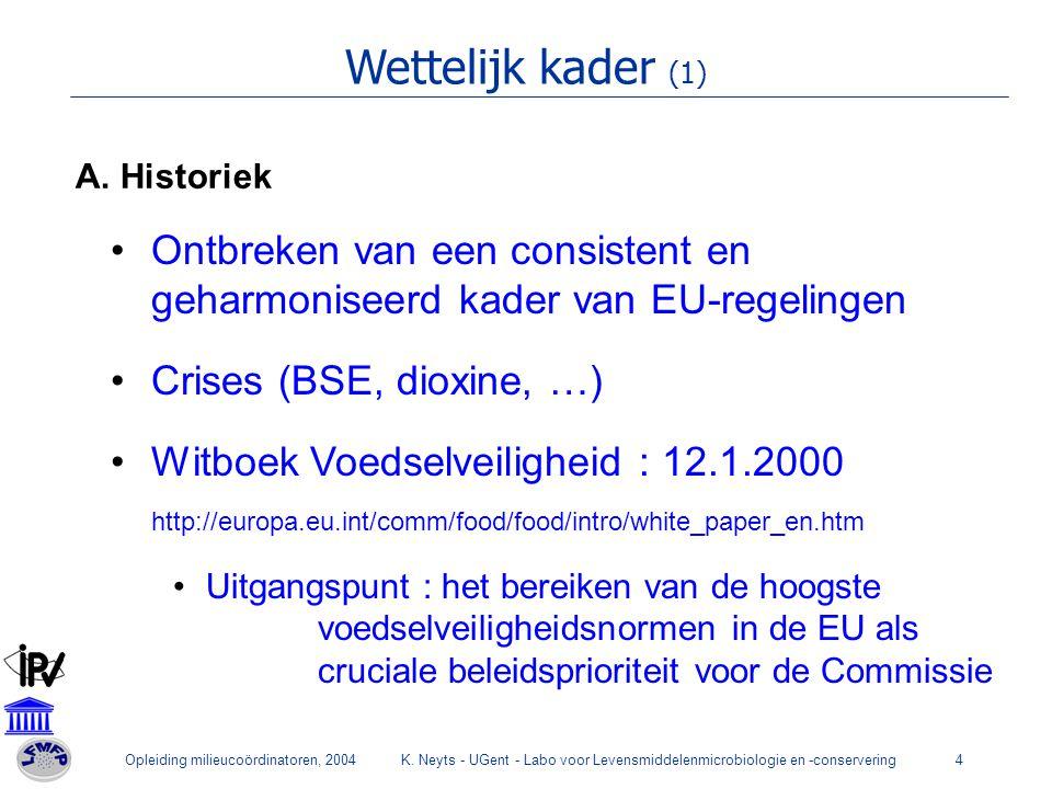 Opleiding milieucoördinatoren, 2004K. Neyts - UGent - Labo voor Levensmiddelenmicrobiologie en -conservering4 Wettelijk kader (1) A. Historiek Ontbrek