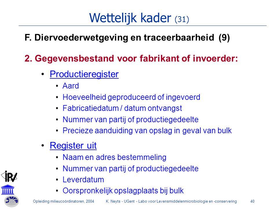 Opleiding milieucoördinatoren, 2004K. Neyts - UGent - Labo voor Levensmiddelenmicrobiologie en -conservering40 Wettelijk kader (31) F. Diervoederwetge