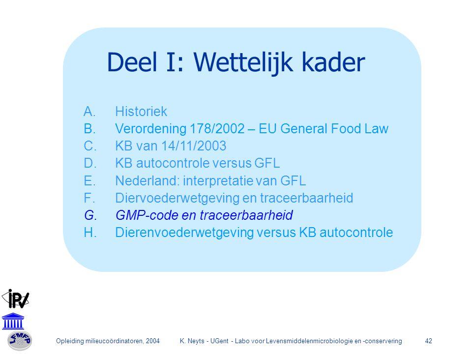 Opleiding milieucoördinatoren, 2004K. Neyts - UGent - Labo voor Levensmiddelenmicrobiologie en -conservering42 Deel I: Wettelijk kader A.Historiek B.V