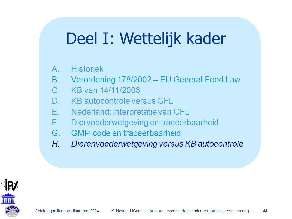 Opleiding milieucoördinatoren, 2004K. Neyts - UGent - Labo voor Levensmiddelenmicrobiologie en -conservering44 Deel I: Wettelijk kader A.Historiek B.V