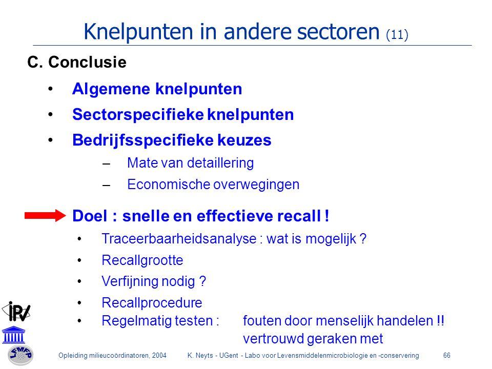 Opleiding milieucoördinatoren, 2004K. Neyts - UGent - Labo voor Levensmiddelenmicrobiologie en -conservering66 Knelpunten in andere sectoren (11) Alge