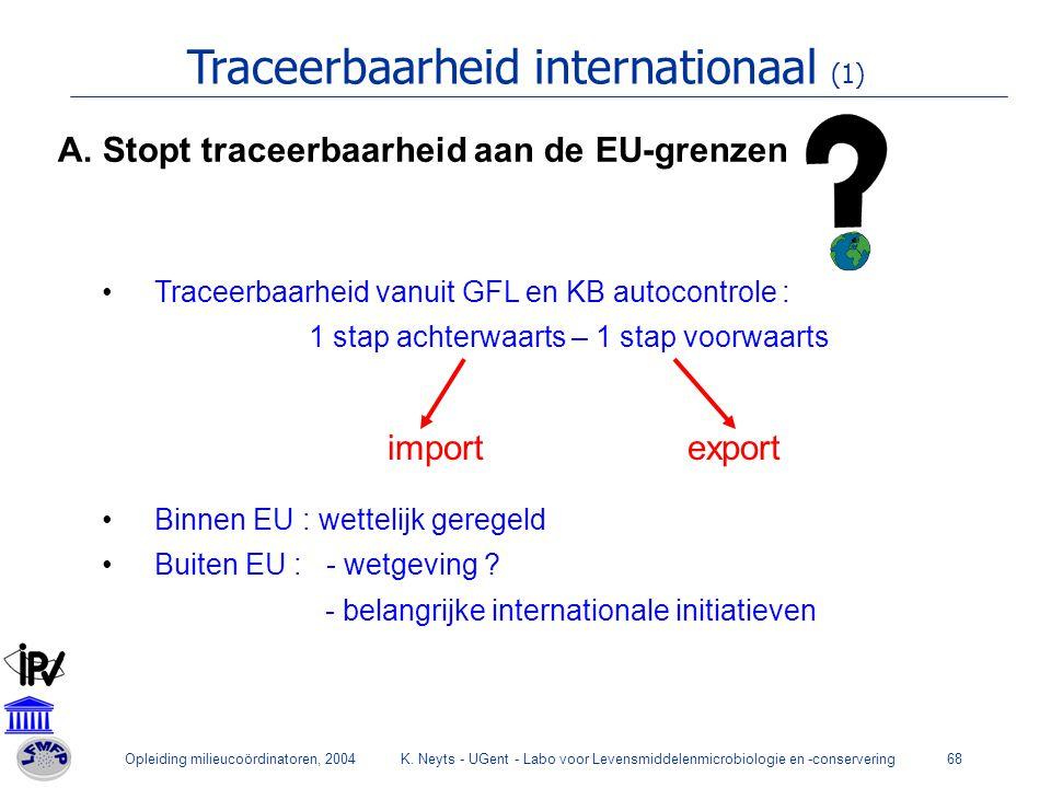 Opleiding milieucoördinatoren, 2004K. Neyts - UGent - Labo voor Levensmiddelenmicrobiologie en -conservering68 Traceerbaarheid internationaal (1) Trac