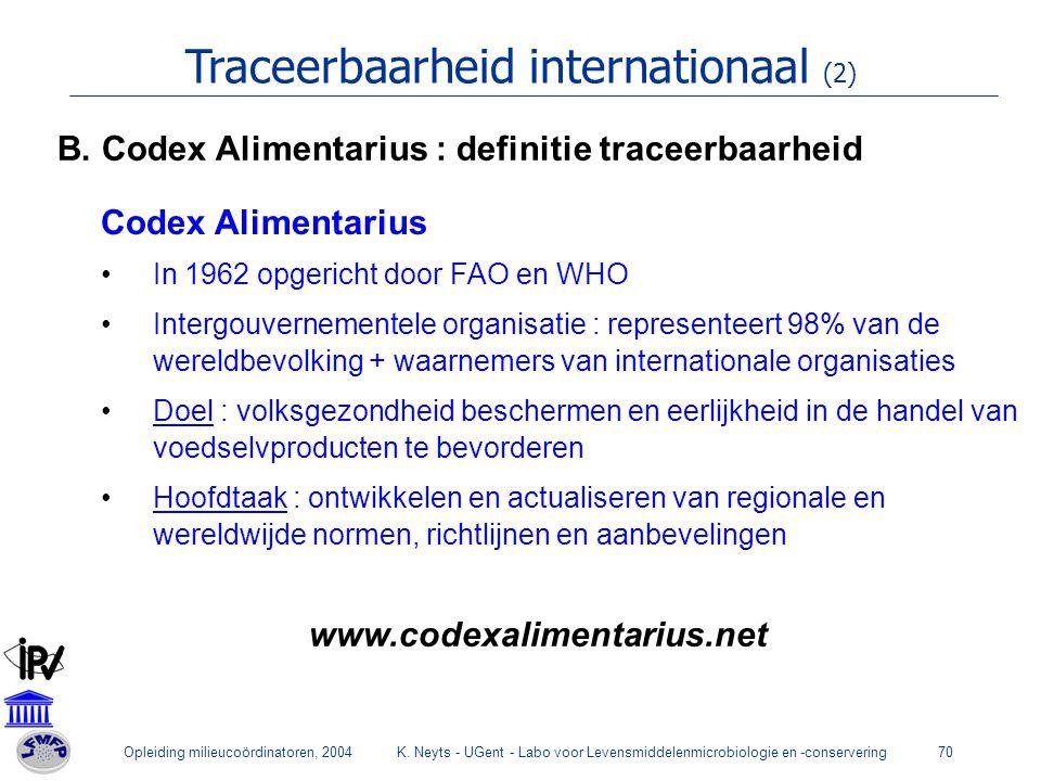 Opleiding milieucoördinatoren, 2004K. Neyts - UGent - Labo voor Levensmiddelenmicrobiologie en -conservering70 Traceerbaarheid internationaal (2) Code