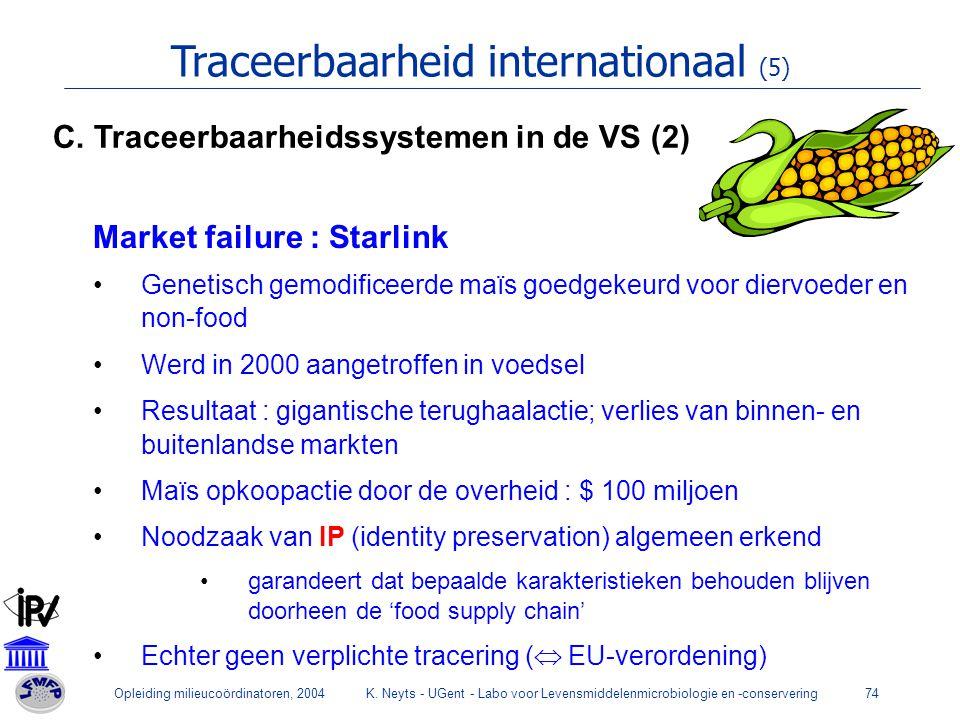 Opleiding milieucoördinatoren, 2004K. Neyts - UGent - Labo voor Levensmiddelenmicrobiologie en -conservering74 Traceerbaarheid internationaal (5) Mark