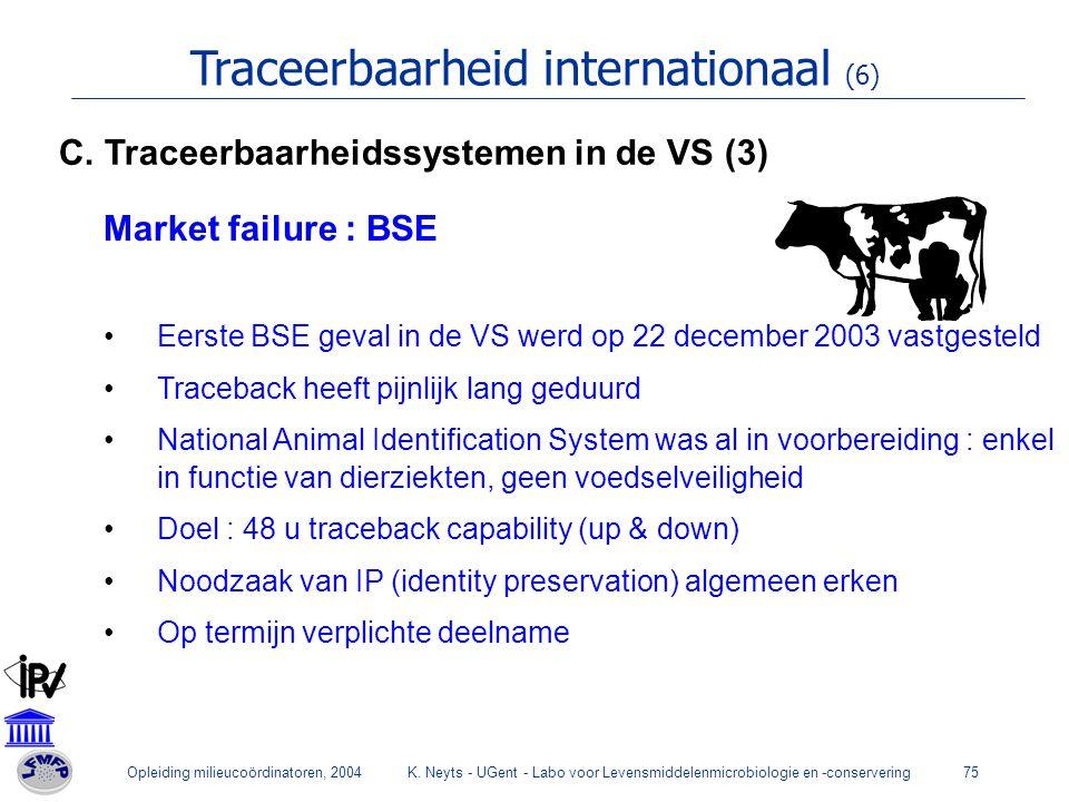 Opleiding milieucoördinatoren, 2004K. Neyts - UGent - Labo voor Levensmiddelenmicrobiologie en -conservering75 Traceerbaarheid internationaal (6) Mark