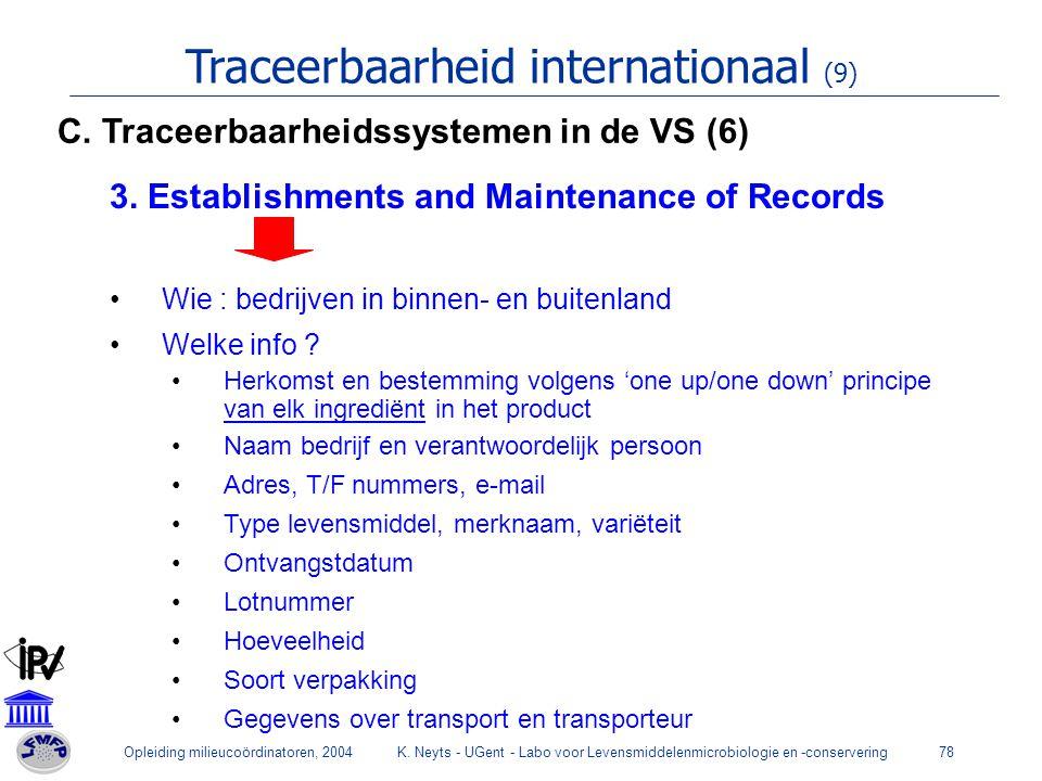 Opleiding milieucoördinatoren, 2004K. Neyts - UGent - Labo voor Levensmiddelenmicrobiologie en -conservering78 Traceerbaarheid internationaal (9) 3. E