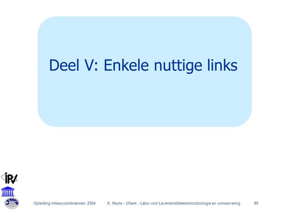 Opleiding milieucoördinatoren, 2004K. Neyts - UGent - Labo voor Levensmiddelenmicrobiologie en -conservering89 Deel V: Enkele nuttige links