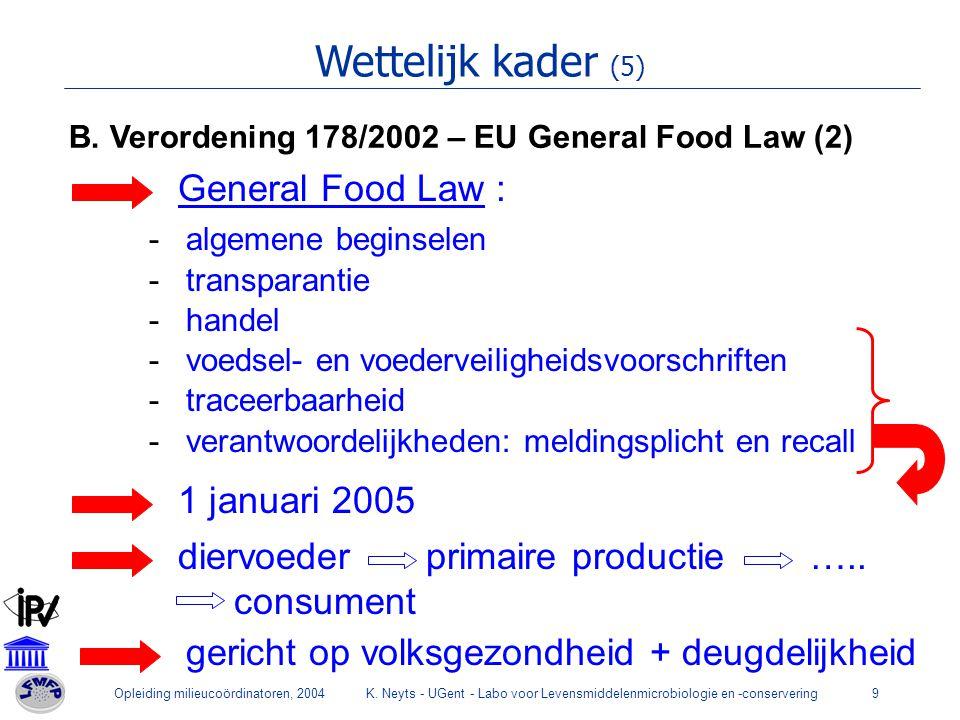 Opleiding milieucoördinatoren, 2004K. Neyts - UGent - Labo voor Levensmiddelenmicrobiologie en -conservering9 Wettelijk kader (5) B. Verordening 178/2