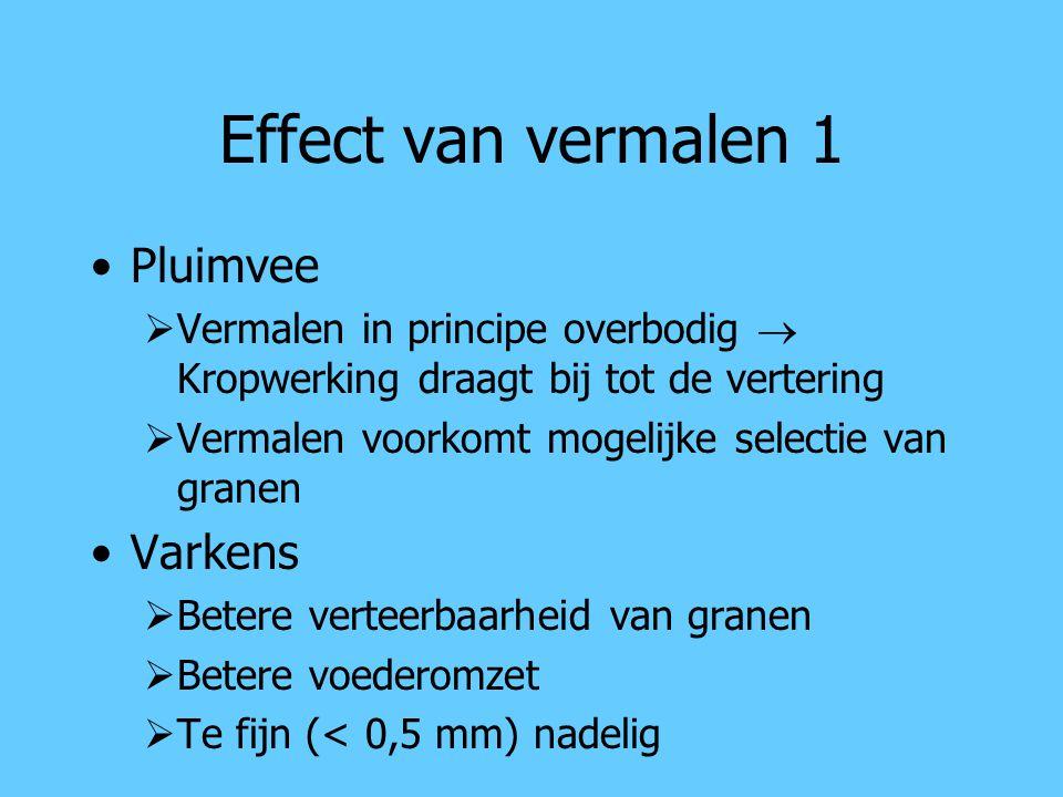 Effect van vermalen 1 Pluimvee  Vermalen in principe overbodig  Kropwerking draagt bij tot de vertering  Vermalen voorkomt mogelijke selectie van g