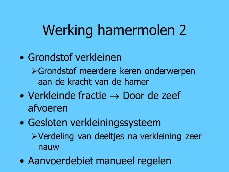 Werking hamermolen 2 Grondstof verkleinen  Grondstof meerdere keren onderwerpen aan de kracht van de hamer Verkleinde fractie  Door de zeef afvoeren