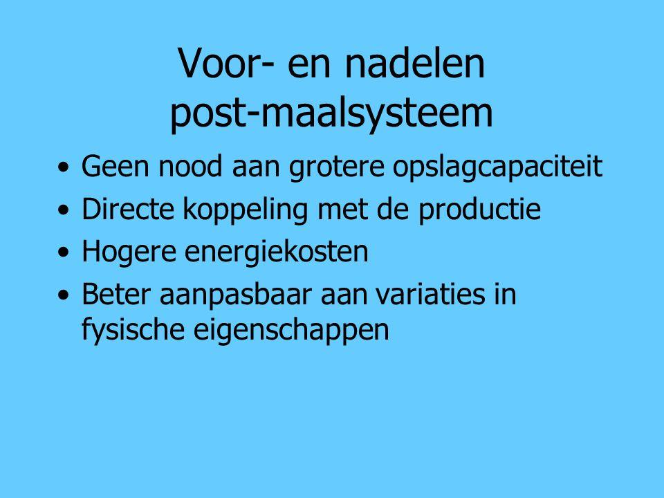 Voor- en nadelen post-maalsysteem Geen nood aan grotere opslagcapaciteit Directe koppeling met de productie Hogere energiekosten Beter aanpasbaar aan