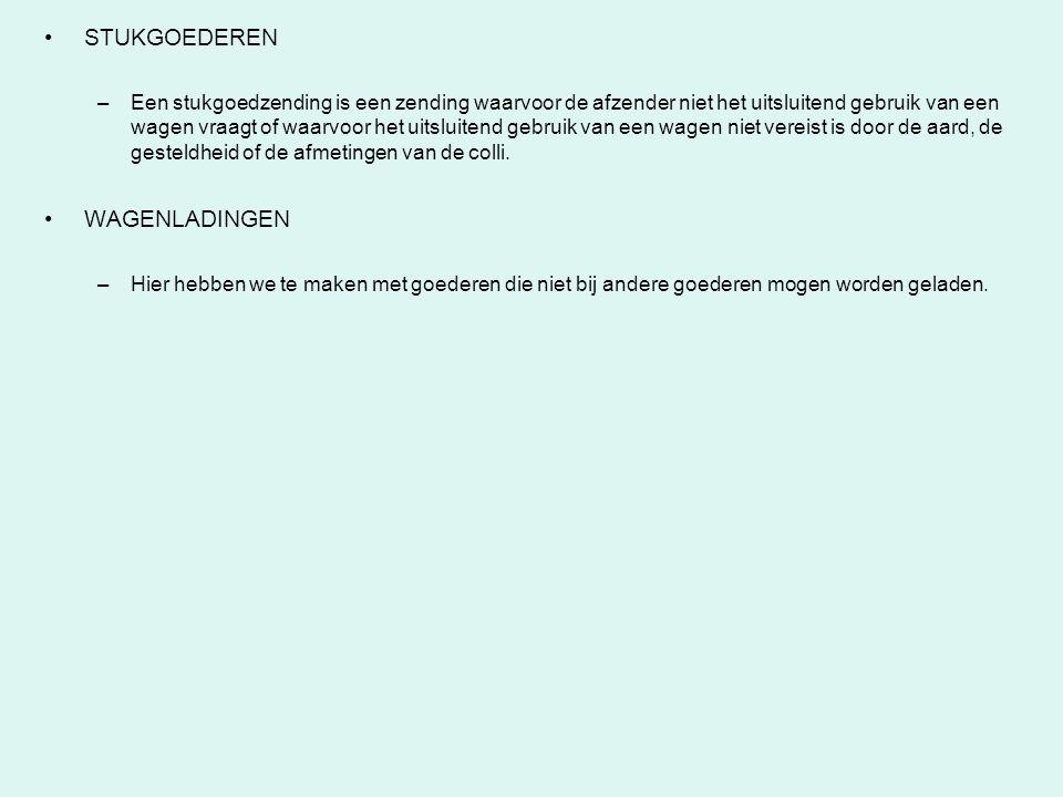 STUKGOEDEREN –Een stukgoedzending is een zending waarvoor de afzender niet het uitsluitend gebruik van een wagen vraagt of waarvoor het uitsluitend ge