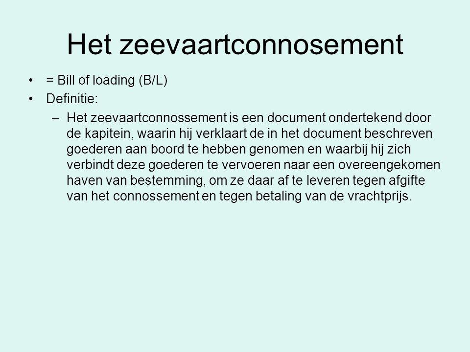 Het zeevaartconnosement = Bill of loading (B/L) Definitie: –Het zeevaartconnossement is een document ondertekend door de kapitein, waarin hij verklaar