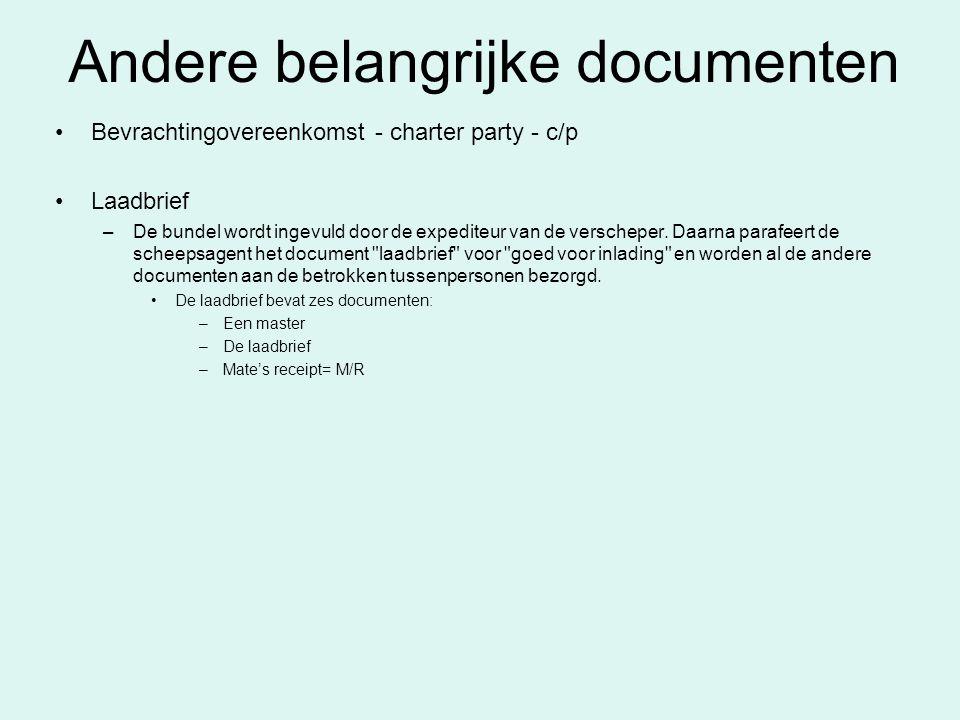 Andere belangrijke documenten Bevrachtingovereenkomst - charter party - c/p Laadbrief –De bundel wordt ingevuld door de expediteur van de verscheper.