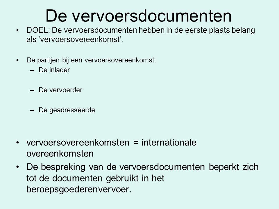 De vervoersdocumenten DOEL: De vervoersdocumenten hebben in de eerste plaats belang als 'vervoersovereenkomst'. De partijen bij een vervoersovereenkom