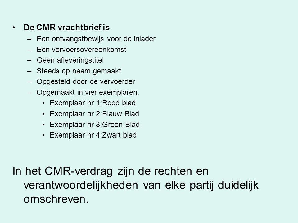 De CMR vrachtbrief is –Een ontvangstbewijs voor de inlader –Een vervoersovereenkomst –Geen afleveringstitel –Steeds op naam gemaakt –Opgesteld door de
