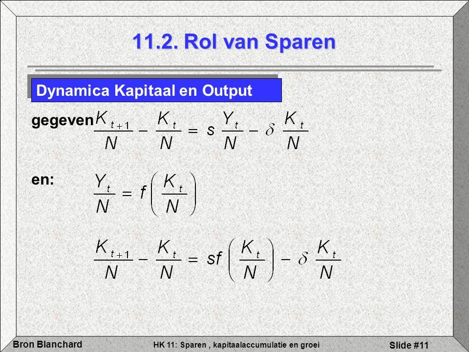 HK 11: Sparen, kapitaalaccumulatie en groei Bron Blanchard Slide #11 11.2. Rol van Sparen Dynamica Kapitaal en Output gegeven en: