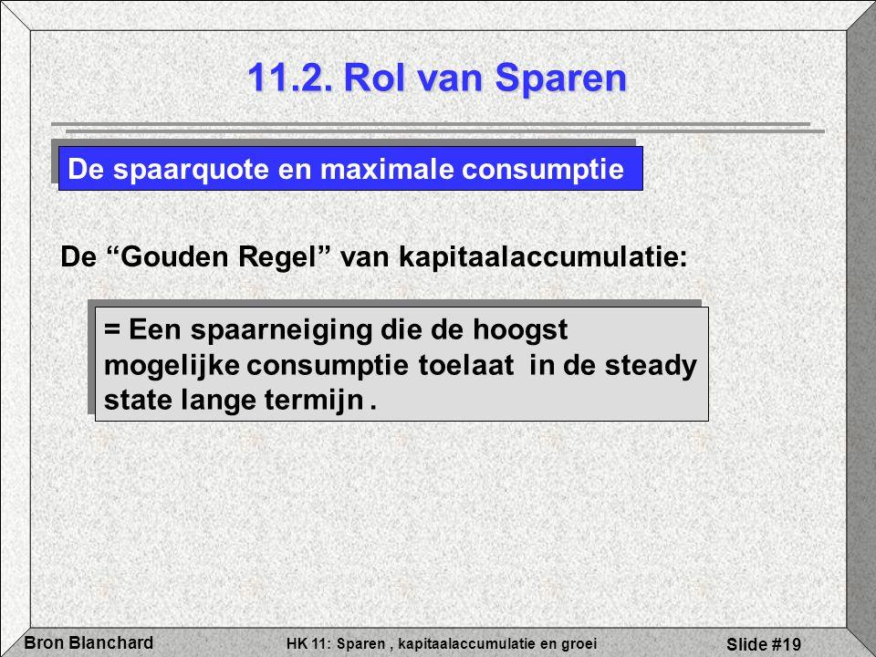 """HK 11: Sparen, kapitaalaccumulatie en groei Bron Blanchard Slide #19 11.2. Rol van Sparen De spaarquote en maximale consumptie De """"Gouden Regel"""" van k"""