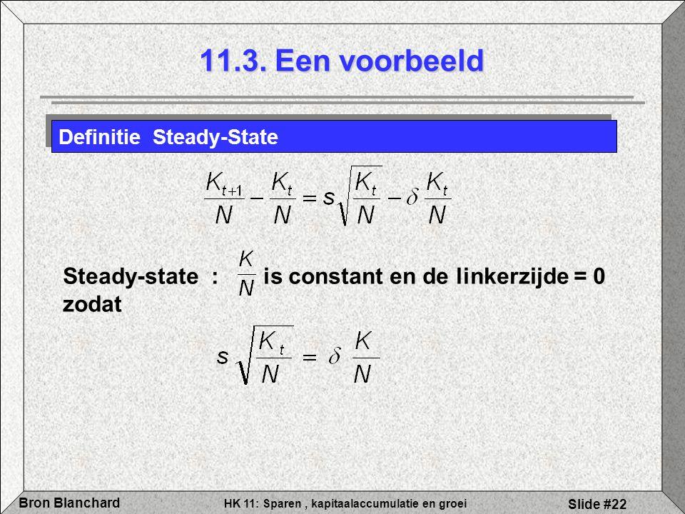 HK 11: Sparen, kapitaalaccumulatie en groei Bron Blanchard Slide #22 Definitie Steady-State Steady-state : is constant en de linkerzijde = 0 zodat 11.