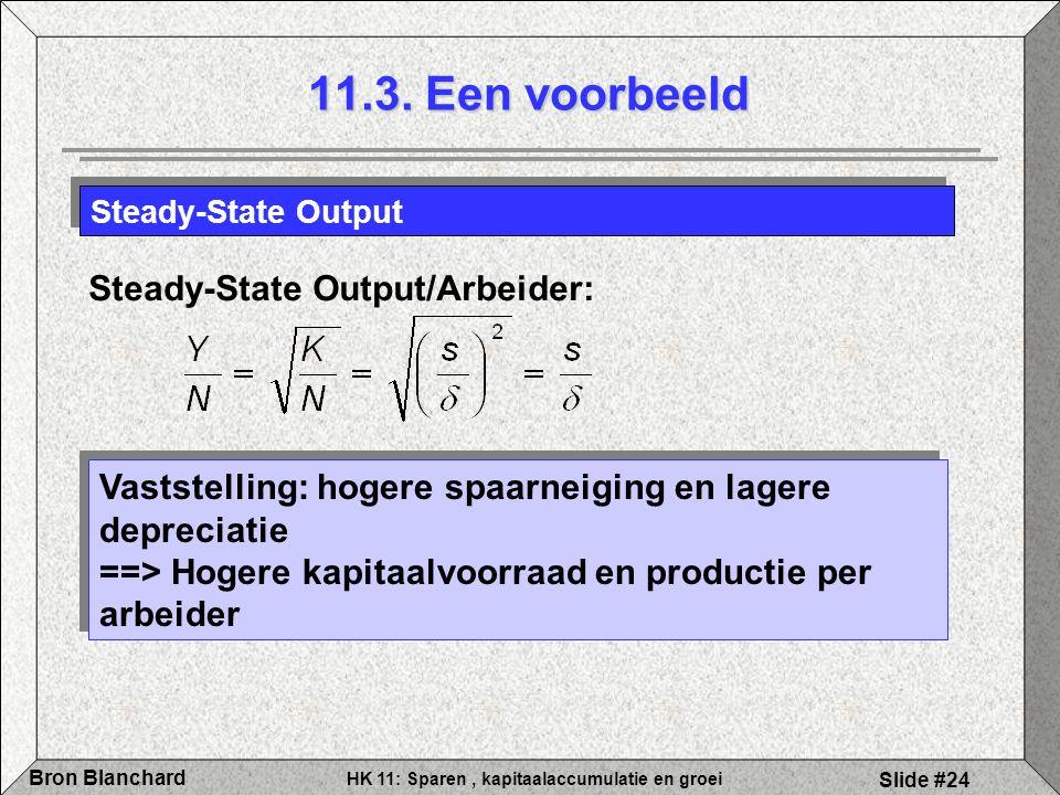 HK 11: Sparen, kapitaalaccumulatie en groei Bron Blanchard Slide #24 Steady-State Output Steady-State Output/Arbeider: Vaststelling: hogere spaarneigi