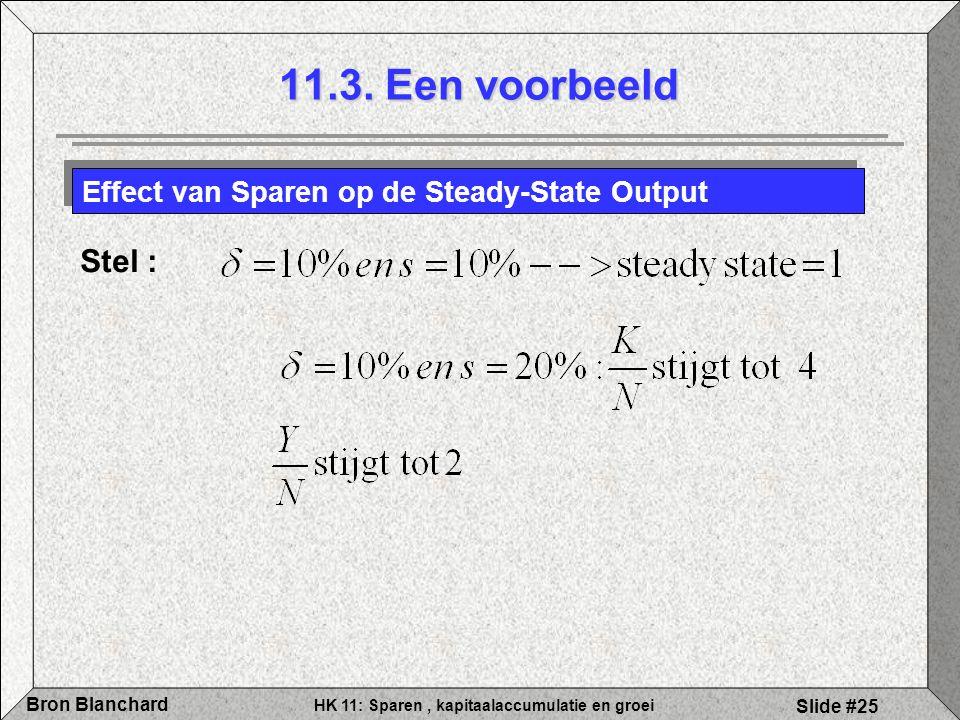 HK 11: Sparen, kapitaalaccumulatie en groei Bron Blanchard Slide #25 Effect van Sparen op de Steady-State Output Stel : 11.3. Een voorbeeld