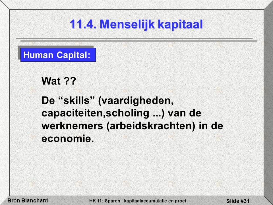 """HK 11: Sparen, kapitaalaccumulatie en groei Bron Blanchard Slide #31 11.4. Menselijk kapitaal Human Capital: Wat ?? De """"skills"""" (vaardigheden, capacit"""