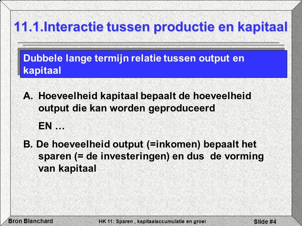HK 11: Sparen, kapitaalaccumulatie en groei Bron Blanchard Slide #4 11.1.Interactie tussen productie en kapitaal Dubbele lange termijn relatie tussen