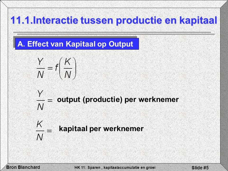 HK 11: Sparen, kapitaalaccumulatie en groei Bron Blanchard Slide #5 11.1.Interactie tussen productie en kapitaal A. Effect van Kapitaal op Output outp