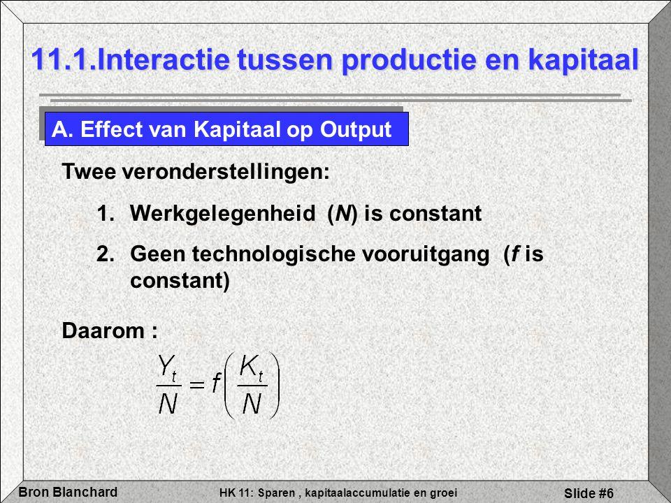HK 11: Sparen, kapitaalaccumulatie en groei Bron Blanchard Slide #6 11.1.Interactie tussen productie en kapitaal A. Effect van Kapitaal op Output Daar