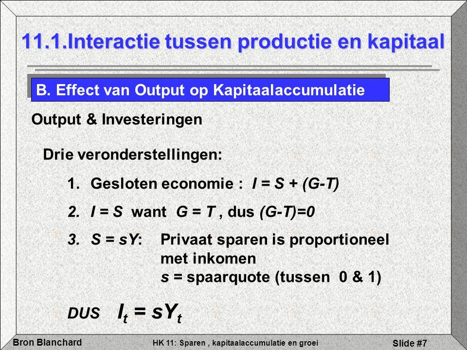 HK 11: Sparen, kapitaalaccumulatie en groei Bron Blanchard Slide #7 11.1.Interactie tussen productie en kapitaal B. Effect van Output op Kapitaalaccum