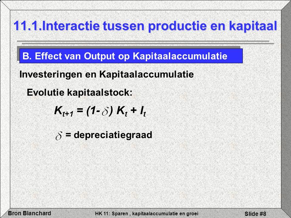 HK 11: Sparen, kapitaalaccumulatie en groei Bron Blanchard Slide #8 11.1.Interactie tussen productie en kapitaal B. Effect van Output op Kapitaalaccum