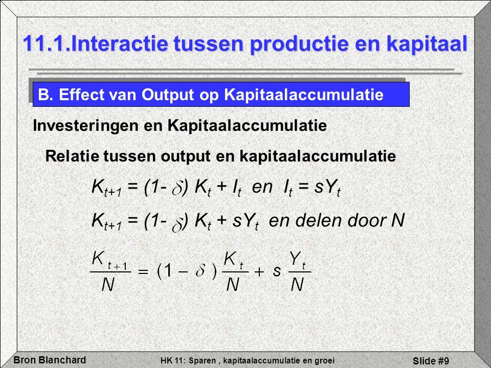 HK 11: Sparen, kapitaalaccumulatie en groei Bron Blanchard Slide #9 11.1.Interactie tussen productie en kapitaal B. Effect van Output op Kapitaalaccum