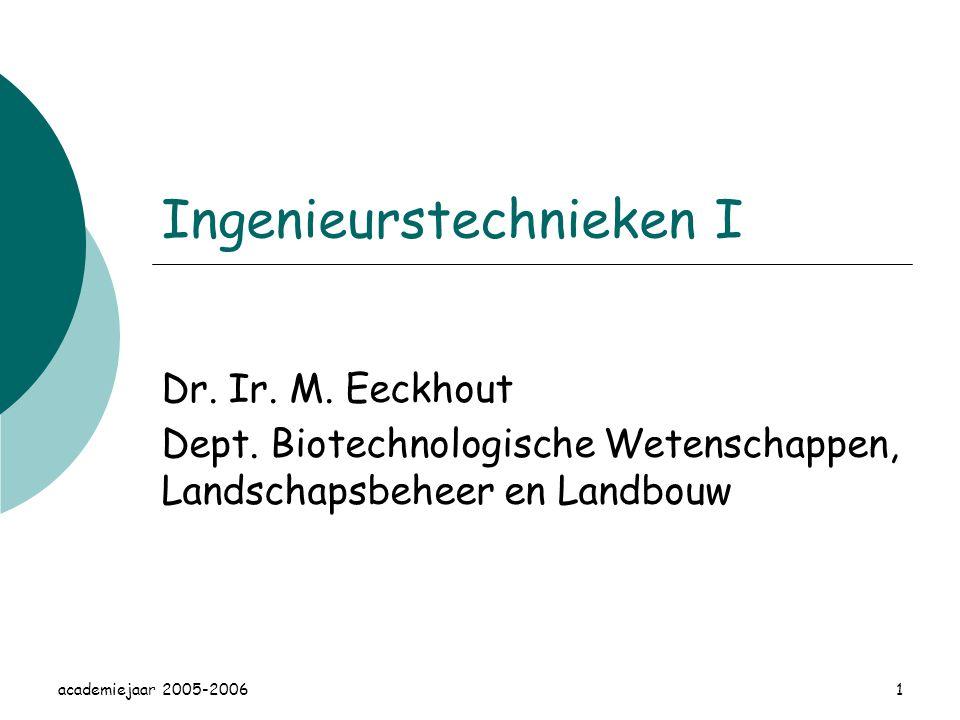 academiejaar 2005-20061 Ingenieurstechnieken I Dr.