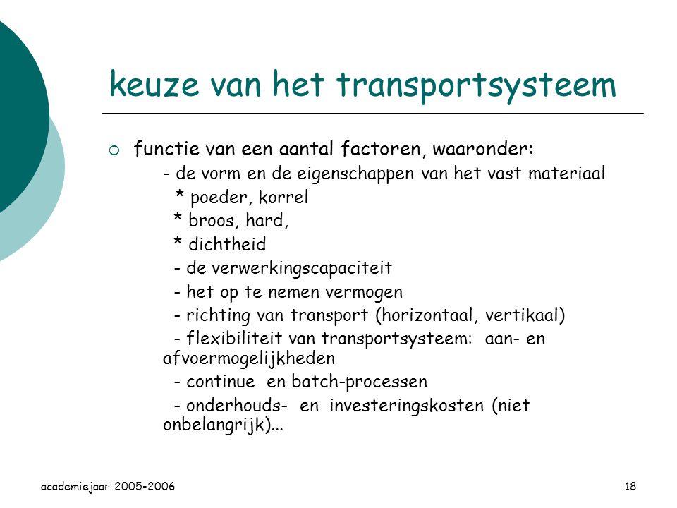 academiejaar 2005-200618 keuze van het transportsysteem  functie van een aantal factoren, waaronder: - de vorm en de eigenschappen van het vast materiaal * poeder, korrel * broos, hard, * dichtheid - de verwerkingscapaciteit - het op te nemen vermogen - richting van transport (horizontaal, vertikaal) - flexibiliteit van transportsysteem: aan- en afvoermogelijkheden - continue en batch-processen - onderhouds- en investeringskosten (niet onbelangrijk)...