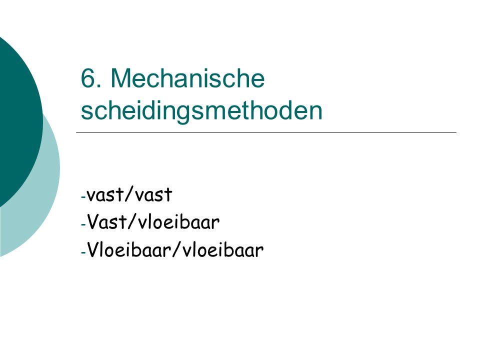6. Mechanische scheidingsmethoden - vast/vast - Vast/vloeibaar - Vloeibaar/vloeibaar