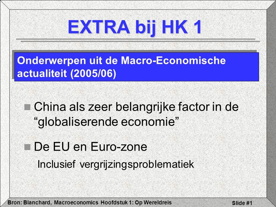 Hoofdstuk 1: Op WereldreisBron: Blanchard, Macroeconomics Slide #1 EXTRA bij HK 1 China als zeer belangrijke factor in de globaliserende economie De EU en Euro-zone Inclusief vergrijzingsproblematiek Onderwerpen uit de Macro-Economische actualiteit (2005/06)