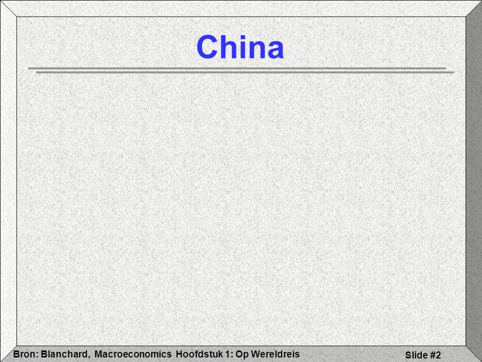 Hoofdstuk 1: Op WereldreisBron: Blanchard, Macroeconomics Slide #3 Kenmerken China 2004 Groei tot 10 % Import / Export Investeringen Goedkope arbeid Open economie