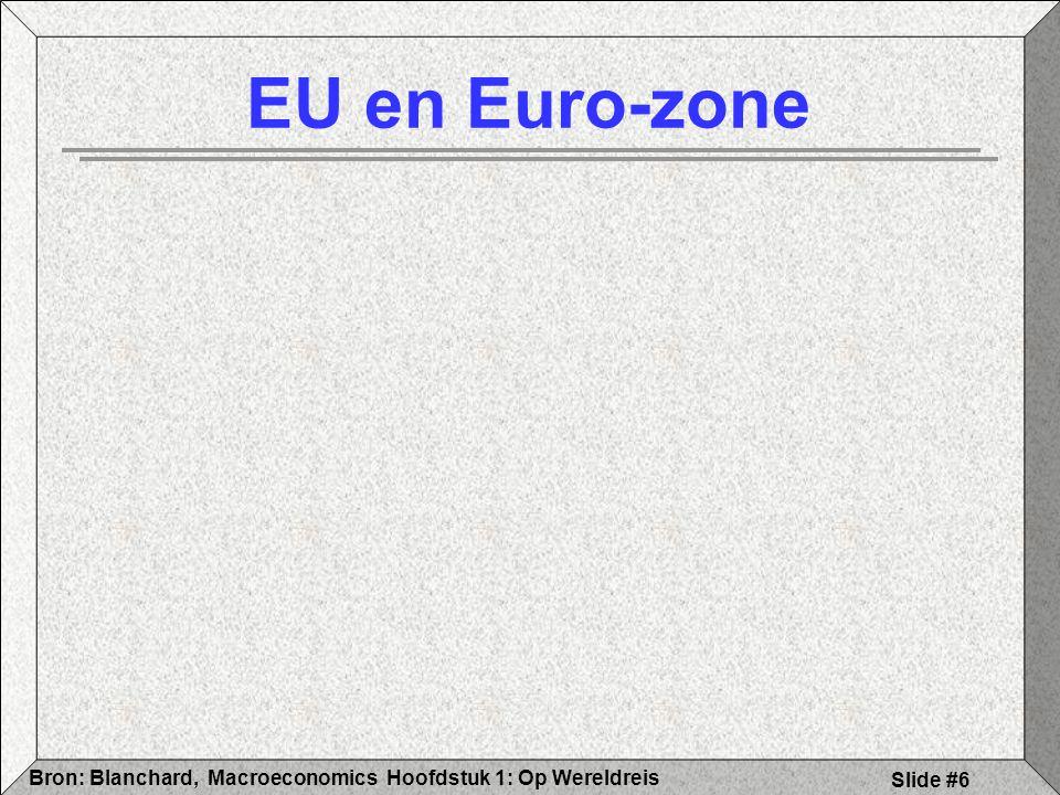Hoofdstuk 1: Op WereldreisBron: Blanchard, Macroeconomics Slide #7 EU uitbreidingsproblematiek Politieke betekenis Verbreden en (of) verdiepen .