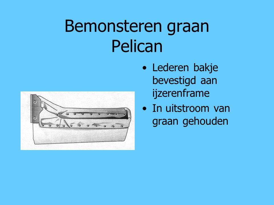 Bemonsteren graan Pelican Lederen bakje bevestigd aan ijzerenframe In uitstroom van graan gehouden