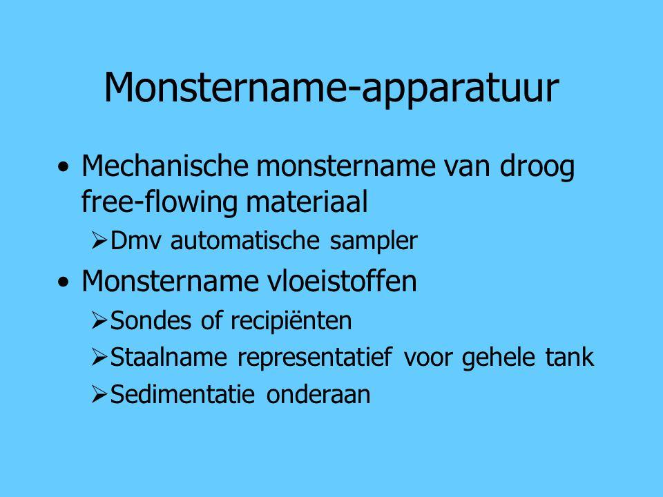 Monstername-apparatuur Mechanische monstername van droog free-flowing materiaal  Dmv automatische sampler Monstername vloeistoffen  Sondes of recipi