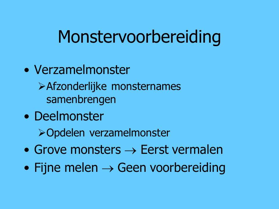 Monstervoorbereiding Verzamelmonster  Afzonderlijke monsternames samenbrengen Deelmonster  Opdelen verzamelmonster Grove monsters  Eerst vermalen F
