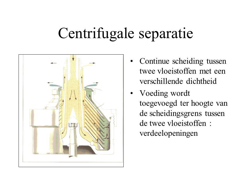 Centrifugale clarificatie Continue scheiding van vaste deeltjes uit een vloeistoffase het sediment moet verwijderd worden