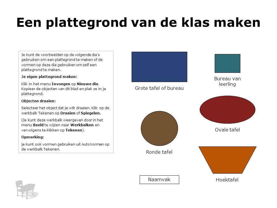 Ovale tafel Een plattegrond van de klas maken Bureau van leerling Grote tafel of bureau Naamvak Hoektafel Ronde tafel Je kunt de voorbeelden op de vol