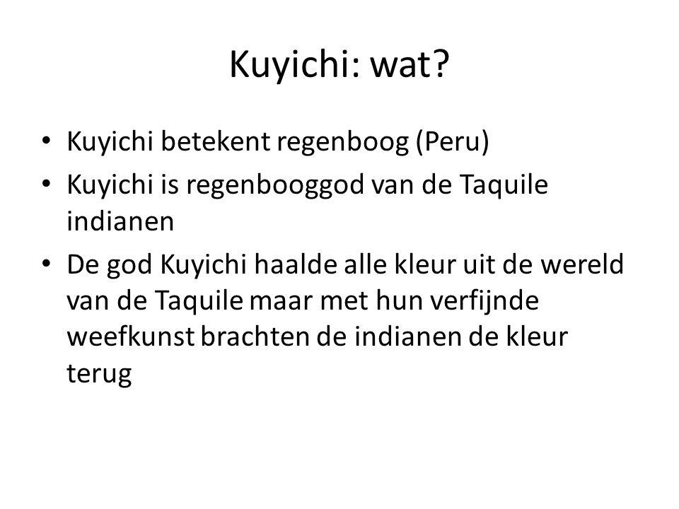 Kuyichi: grondstoffen Katoen geleverd door Oro Blanco (wit goud), de eigen exportfirma van de katoenboeren in Peru Kledingateliers in Brazilië (CooperJeans) en Mexico (Xhiiña Guidxi) en Mexico verwerken de katoen tot kleding.