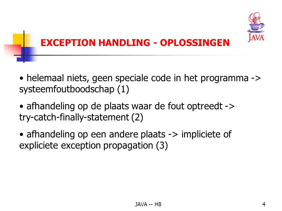 JAVA -- H83 EXCEPTION HANDLING - SOORTEN Exception (allemaal checked, behalve RunTimeException) RunTimeException (unchecked) ArithmeticException IndexOutofBoundsException ArrayIndexOutofBoundsException IllegalArgumentException NumberFormatException IOException (checked) FileNotFoundException MalformedURLException InterruptException (checked)