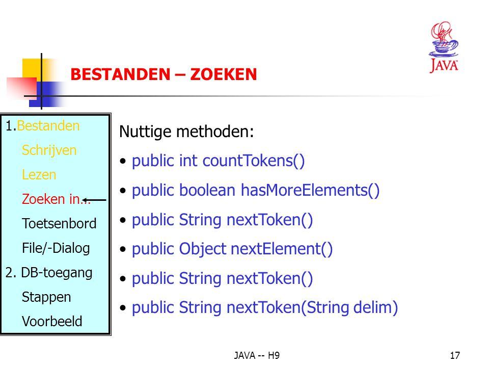 JAVA -- H917 BESTANDEN – ZOEKEN Nuttige methoden: public int countTokens() public boolean hasMoreElements() public String nextToken() public Object nextElement() public String nextToken() public String nextToken(String delim) 1.Bestanden Schrijven Lezen Zoeken in… Toetsenbord File/-Dialog 2.