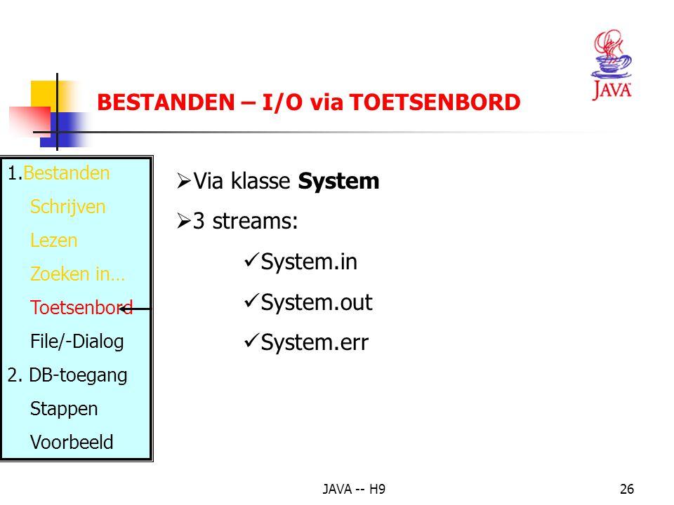 JAVA -- H926 BESTANDEN – I/O via TOETSENBORD 1.Bestanden Schrijven Lezen Zoeken in… Toetsenbord File/-Dialog 2.